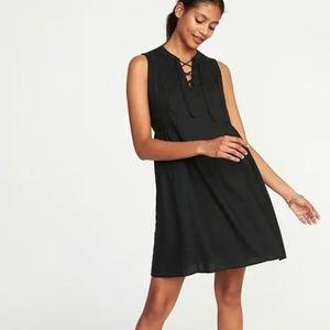 🍾 Old Navy Lace-Up Sleeveless Black Swing Dress